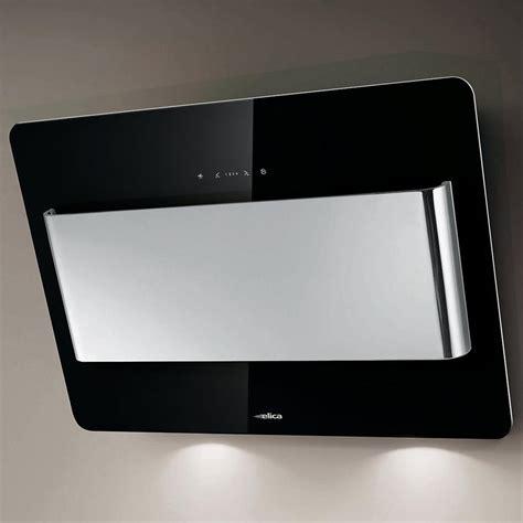 hotte de cuisine noir elica hotte de cuisine décorative belt verre noir et inox 80 cm prf0032793a