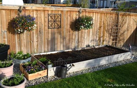 hanging garden bed garden box similar to the one we planted today need some pretty hanging plants for the fence