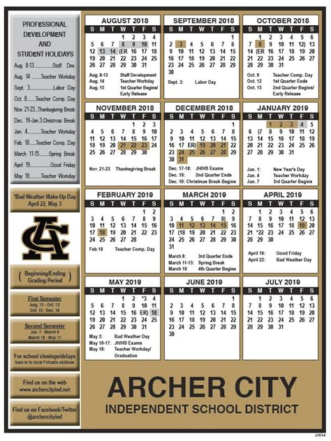 archer city independent school district calendar