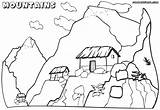 Coloring Mountain Mountains Pages Scenery Children Tiny Houses Print Nature Mountain1 sketch template