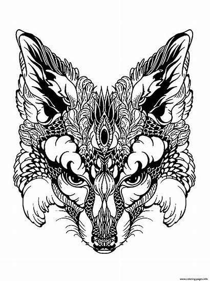 Coloring Fox Animal Head Advanced Pages Printable