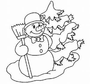 Disegno di Pupazzo di neve e albero di Natale da Colorare Acolore