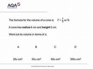 Volume Of A Cone  Gcse Maths Question Of The Week  Foundation  Higher