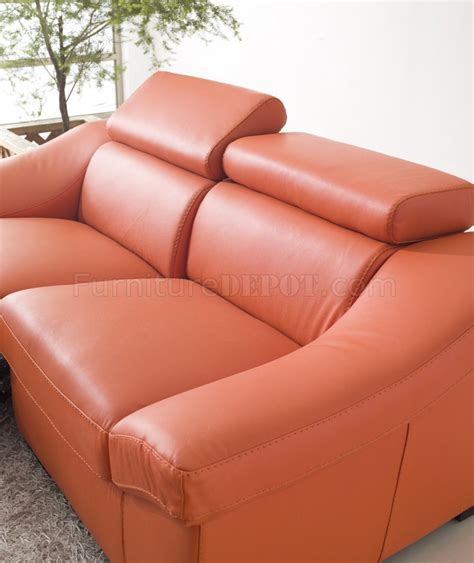 8021 reclining sofa in orange leather by esf w
