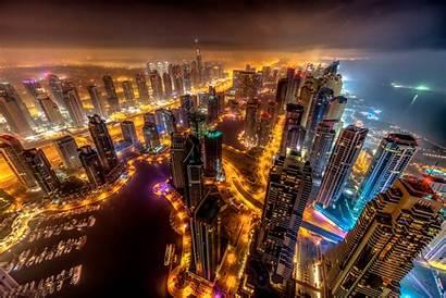 Dubai Buildings 8k Lights Night Wallpapers 4k
