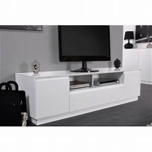 Meuble Haut Blanc Laqué : meuble tv haut laque blanc ~ Teatrodelosmanantiales.com Idées de Décoration
