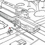 Train Coloring Pages Railroad Freight Crossing Caboose Railway Printable Diesel Bullet Drawing Coloring4free Trains Outline Rail Cross Template Steam Getdrawings sketch template