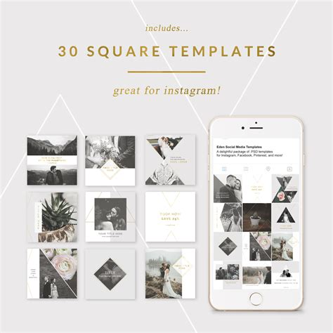 Instagram Template Social Media Templates For Photographers Editable
