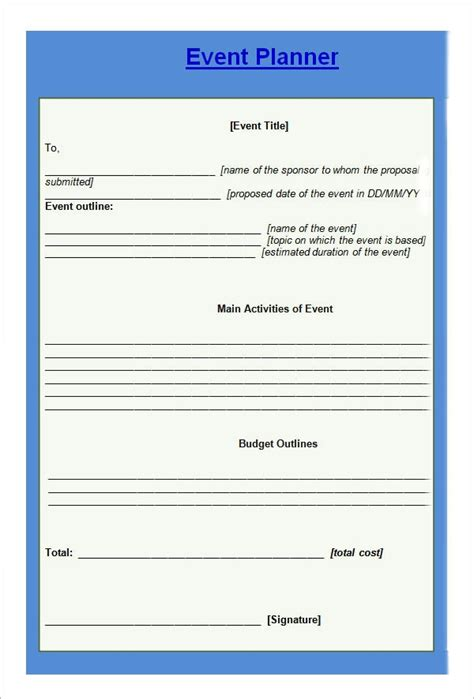 sample event planning templates