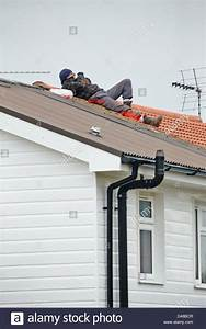 Errol Clarke (pictured on roof) attempts to avoid arrest ...