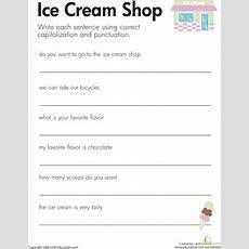 Fix The Sentences Ice Cream Shop  Worksheet Educationcom