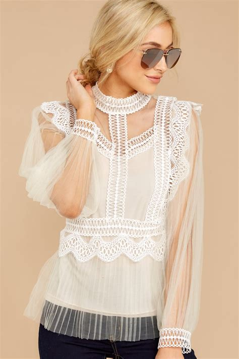 Lace Tiered Tulle Culottes white tiered lace top sleeve lace shirt