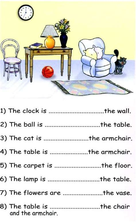 prepositions in on worksheets