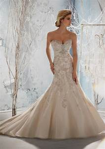 fit and flare wedding dress with bling and straps With flare wedding dresses