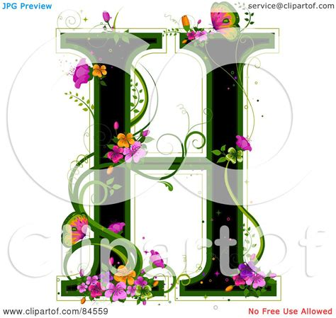 royalty  rf clipart illustration   black capital letter  outlined  green