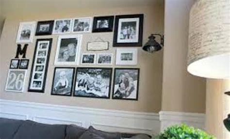 arrange family pictures   large wall  guides