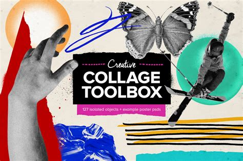 creative collage toolbox  design elements  yellow