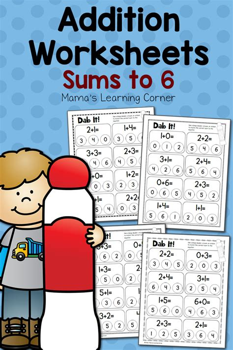 dab  addition worksheets sums   mamas learning