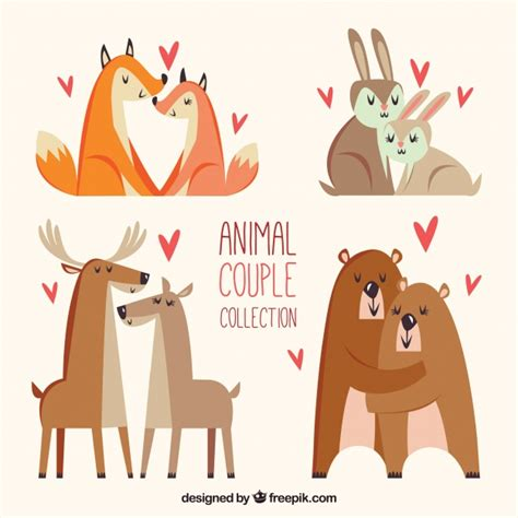 Download icon font or svg. Flat valentine's day animal couples collection   Free Vector