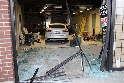 Window Through Surrey Construction Crashing Mall Worker