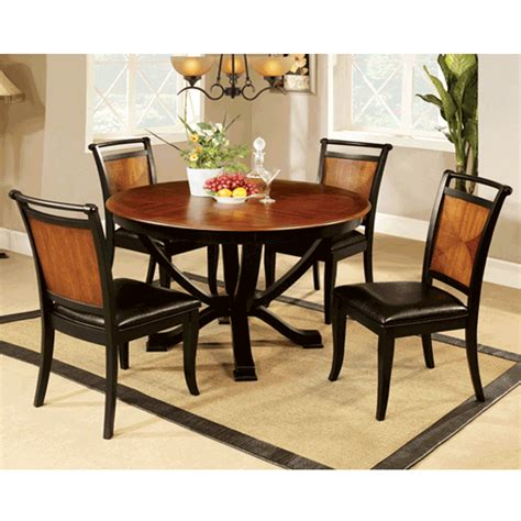 Lianne Acacia Cottage Style Black 5piece Round Dining Set