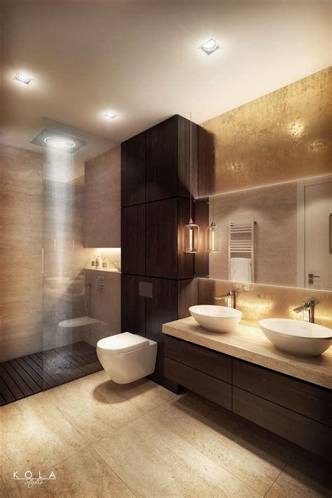 elegant modern bathroom  warm colors  semi open