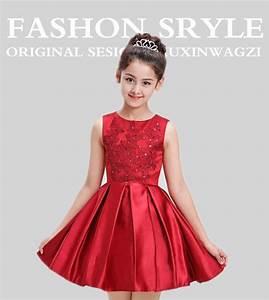 Elegant Red Satin Children Wedding Dress For Teenage Sleeveless Girl Clothing Sequin Girls ...