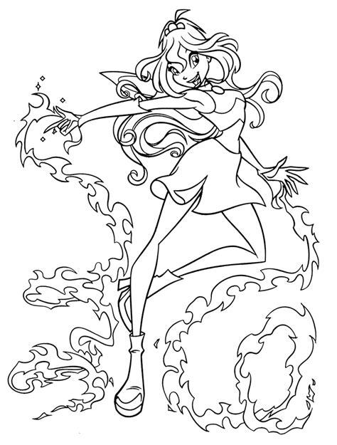 Kleurplaat Winx Bloom by Winx Club Coloring Page Bloom Stella Flora Musa