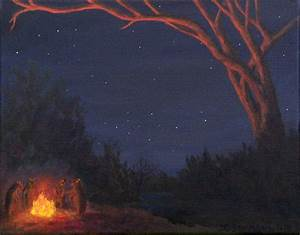 Campfire Bears Painting by Janet Greer Sammons