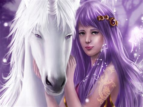 pictures girl unicorn horse white