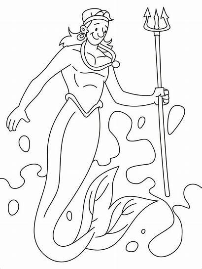 Merman Coloring Pages Mermaid Homey Printable Popular