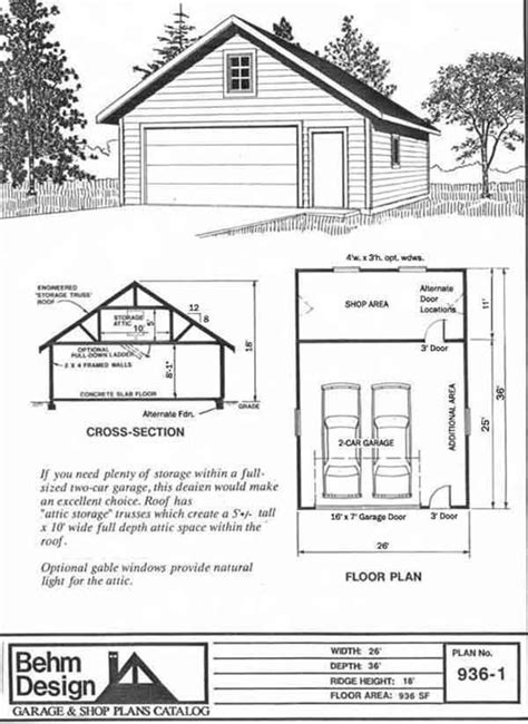 car workshop garage plan    attic truss roof