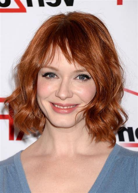 christina hendricks short red wavy hairstyle for women
