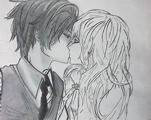 Dibujos A Lapiz Anime Besandose | Tattoo Design Bild