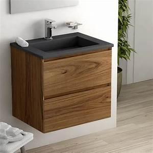 Meuble Salle De Bain Noyer : meuble salle de bain bois noyer vasque en pierre pizarra ~ Melissatoandfro.com Idées de Décoration