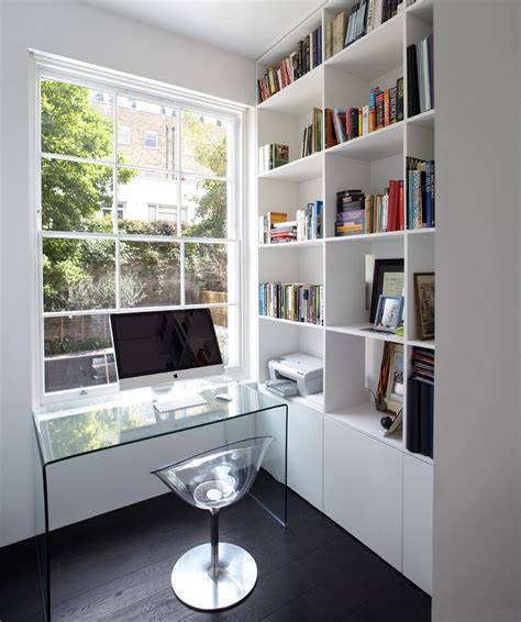 minimalist home office design minimalist home office design in white with transparent glass desk imac and bookshelves