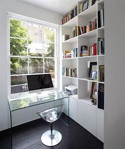 Minimalist, Home, Office, Design, In, White, With, Transparent, Glass, Desk, Imac, And, Bookshelves