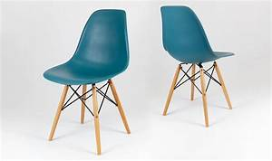Chaise Bleu Scandinave : chaise dsw design scandinave bleu canard avec pieds en bois ~ Teatrodelosmanantiales.com Idées de Décoration