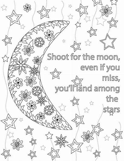 Coloring Teens Quote Moon Pages Adults