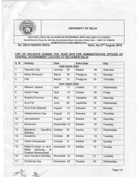 academic calendar university delhi
