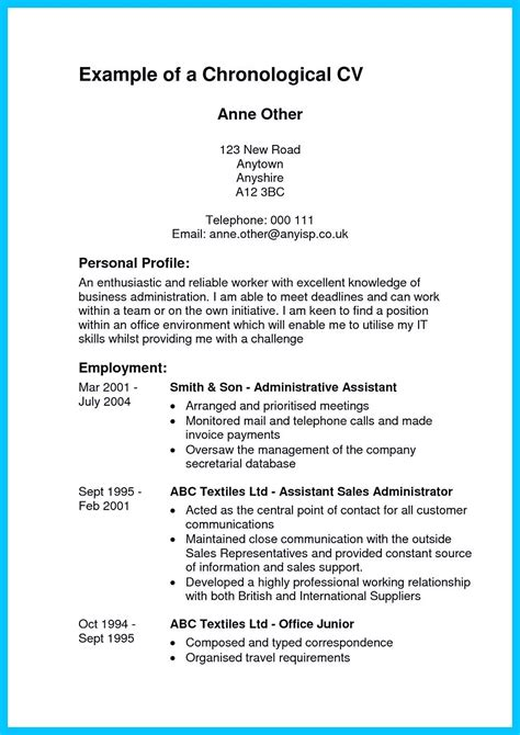 Chronological Resume Administrative Assistant by In Writing Entry Level Administrative Assistant Resume
