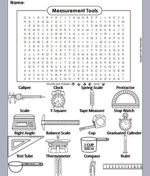 measurement tools worksheet word search coloring sheet