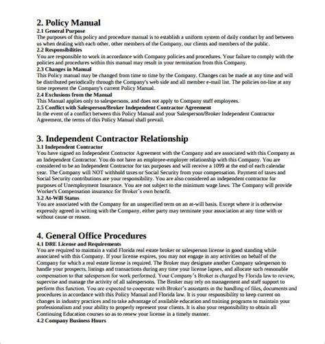 sample policy manual  examples format