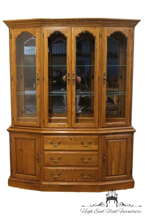 china cabinet with lights high end used furniture pennsylvania house solid oak 65