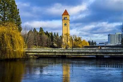 Spokane Clock Tower River Bridge Park 4k