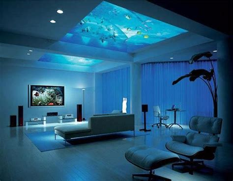 futuristic bedroom set with suspended bed made of fish tank aquarium made the ceiling of room