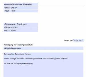Wohnung Kündigen Email : sportverein mitgliedschaft k ndigen kostenlose ~ Orissabook.com Haus und Dekorationen