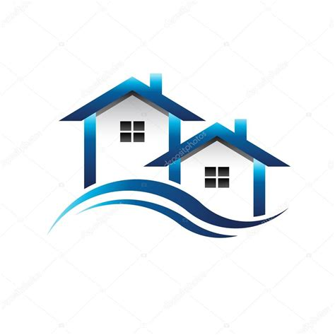 blue houses real estate logo stock vector deskcube
