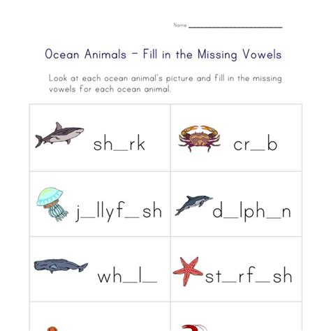 ocean animals worksheet spelling practice  kids network