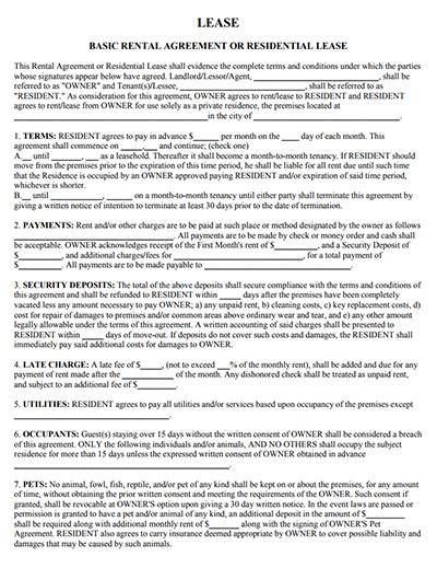 sample lease agreement templates   edit